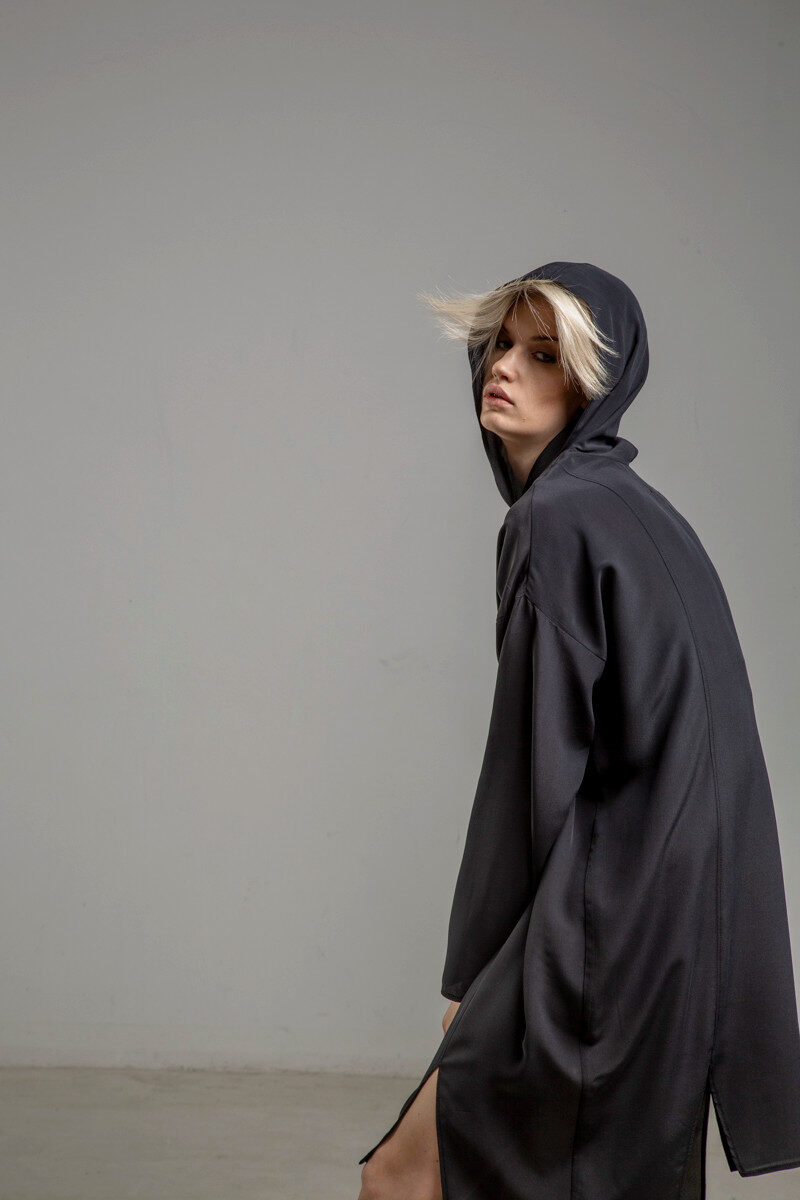 delcane sukienka jedwabna TOKYO black her bok 2m