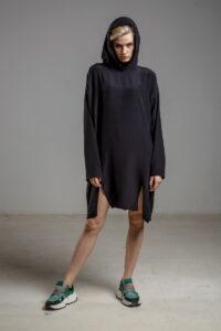 delcane sukienka jedwabna TOKYO black her przod