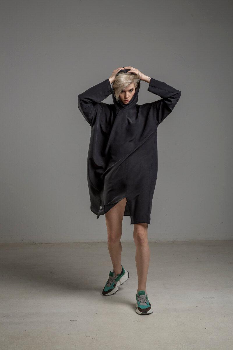delcane sukienka jedwabna TOKYO black her przod4m