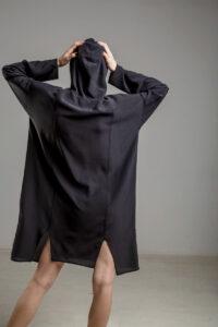 delcane sukienka jedwabna TOKYO black her tyl 1m