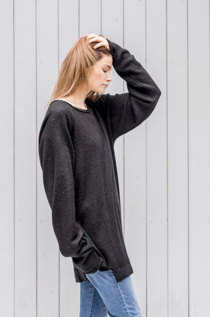 czarny sweterek Kopenhaga Gray bok zbliżenie