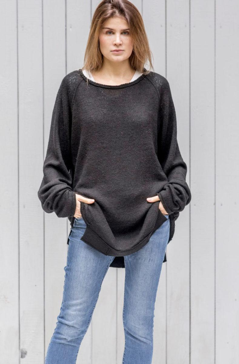 czarny sweterek Kopenhaga Gray front zbliżenie