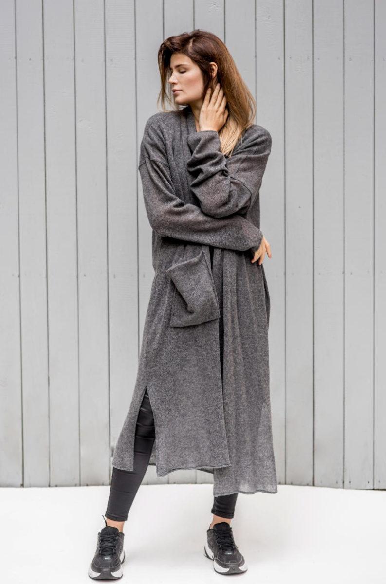 Długi wełniany sweter Kopenhaga Gray z wełny widok przód