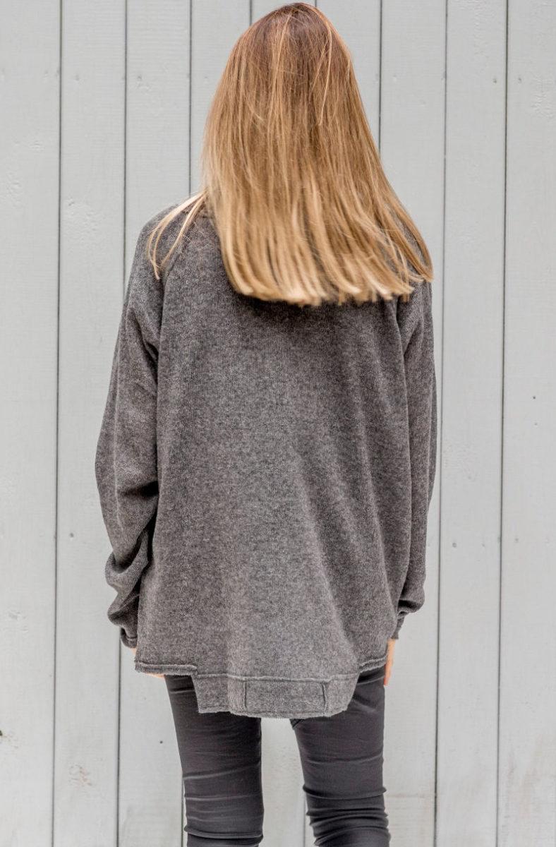 szary sweterek Kopenhaga Gray tył zbliżenie