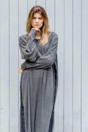 szara sukienka z taśmą kopenhaga gray front 2a