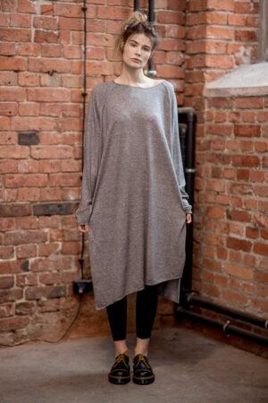 delcane-oversize-szara-sukienka-amsterdam-gray-przód