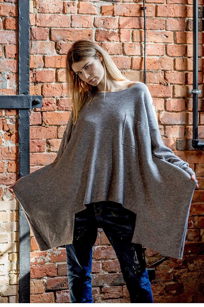 delcane-szary-sweterek-amsterdam-gray-ala-poncho-przod-2