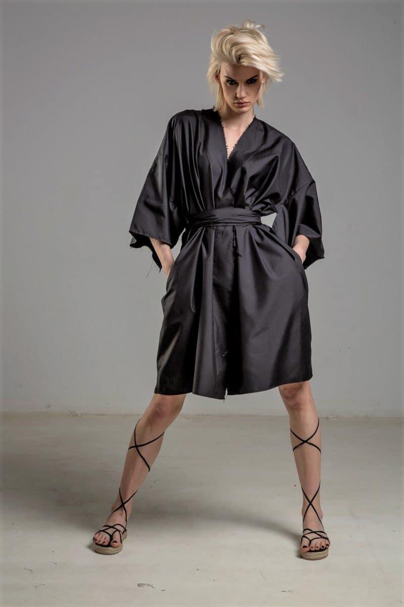 jedwabne kimono delCane TOKYO black przod