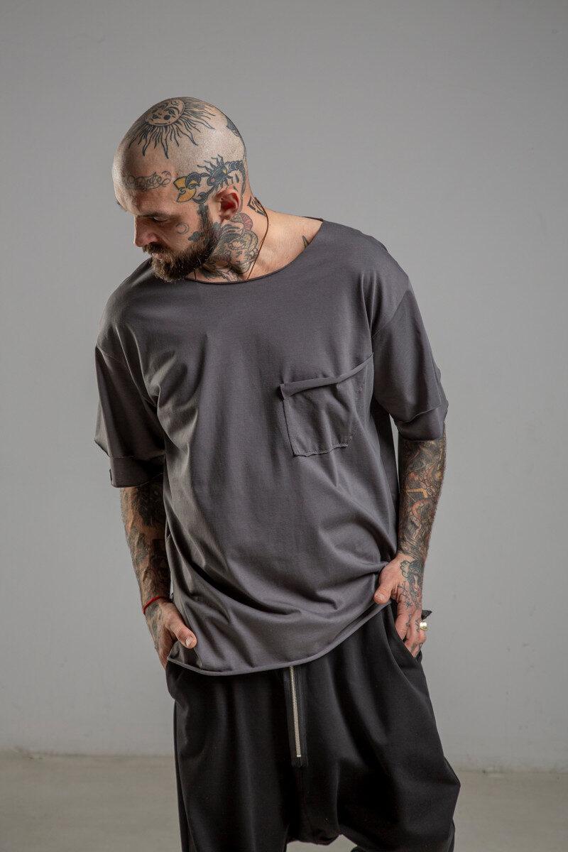 Delcane tshirt z dwoma rekawkami tokyo gray man przod 3m