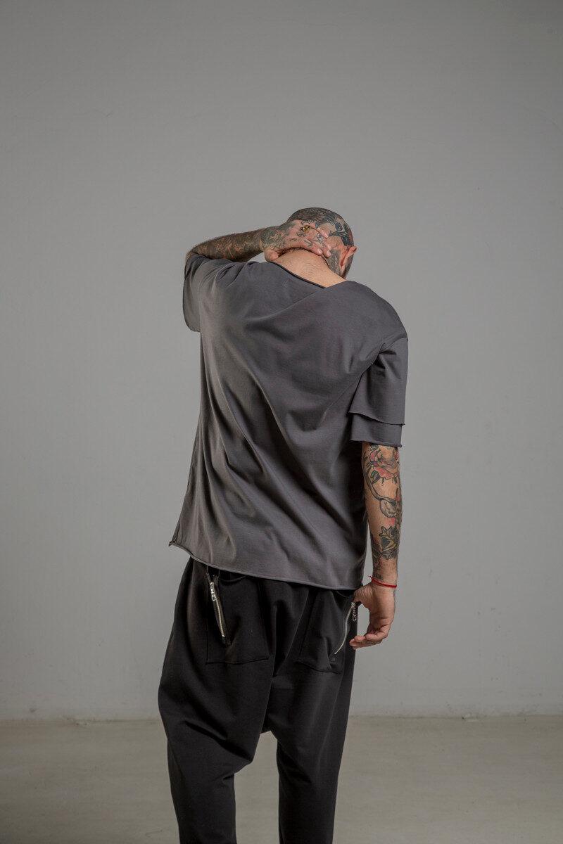 Delcane tshirt z dwoma rekawkami tokyo gray man tyl 1m