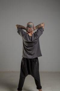 Delcane tshirt z dwoma rekawkami tokyo gray man tyl 2m