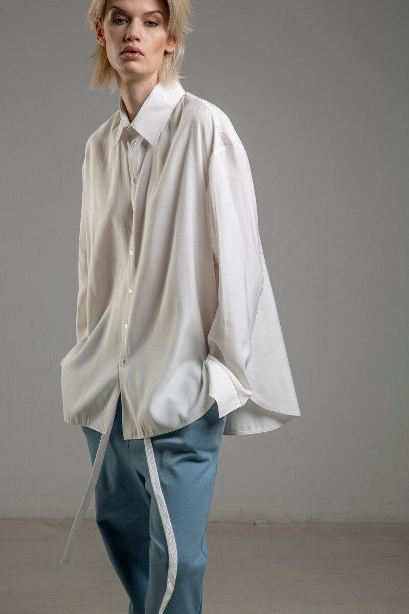 biala koszula delcane z cupro TOKYO white bok 1m