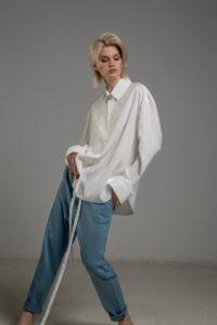 biala koszula delcane z cupro TOKYO white bok 3m