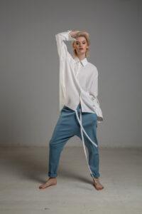 biala koszula delcane z cupro TOKYO white przod 1m