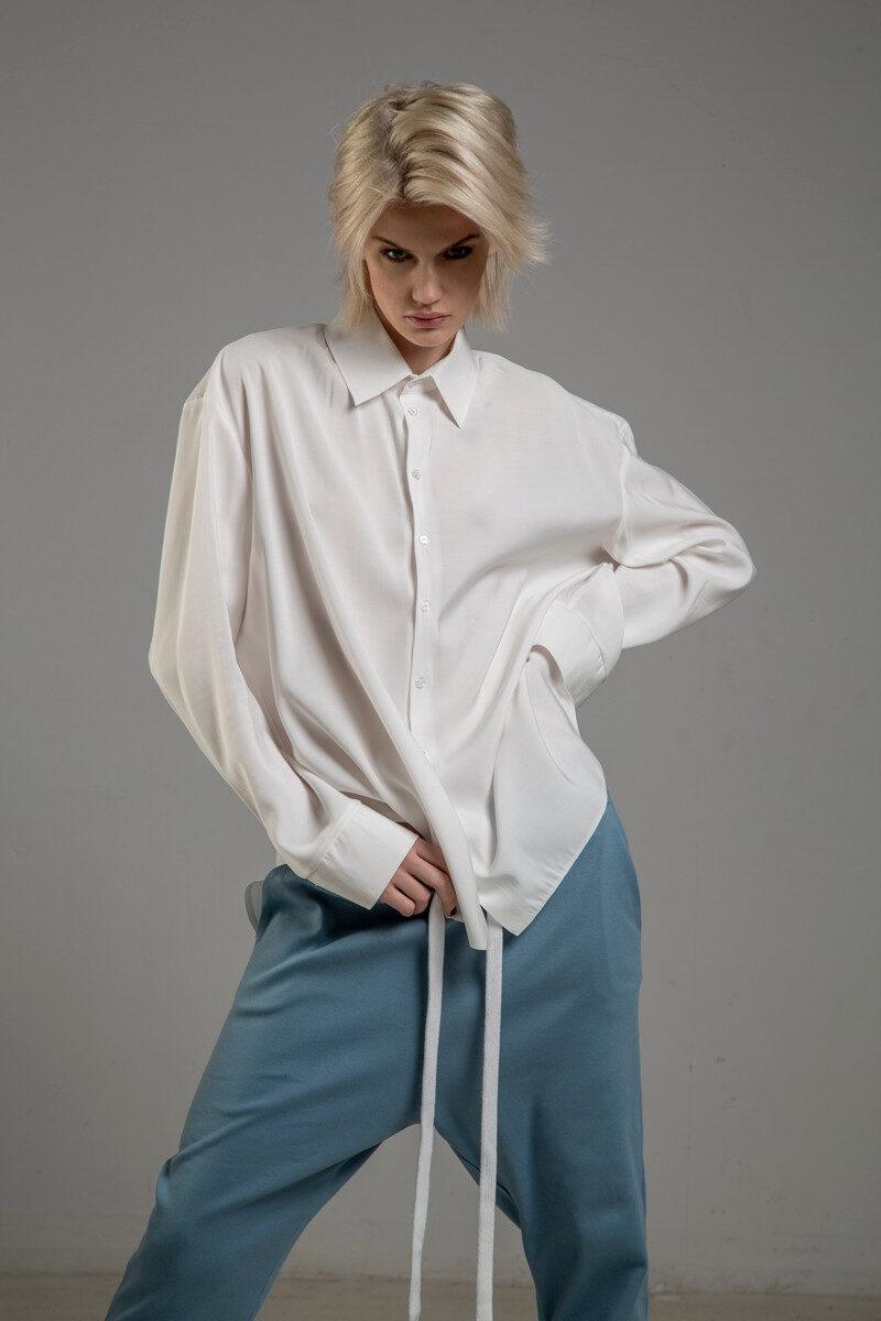 biala koszula delcane z cupro TOKYO white przod 2m