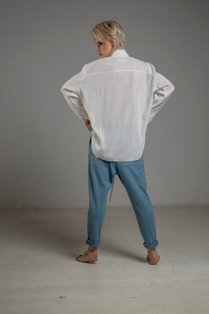 biala koszula delcane z cupro TOKYO white tyl 1m