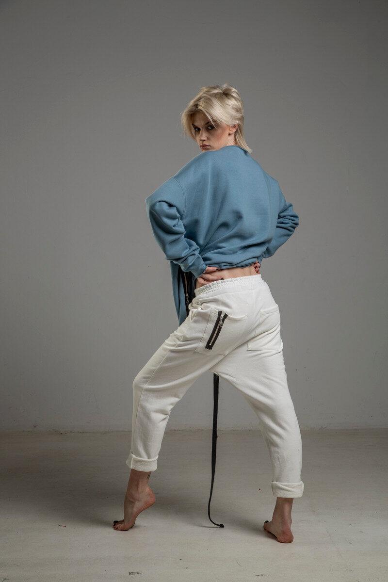 biale spodnie delcane cotton TOKYO white lewy bok 1m