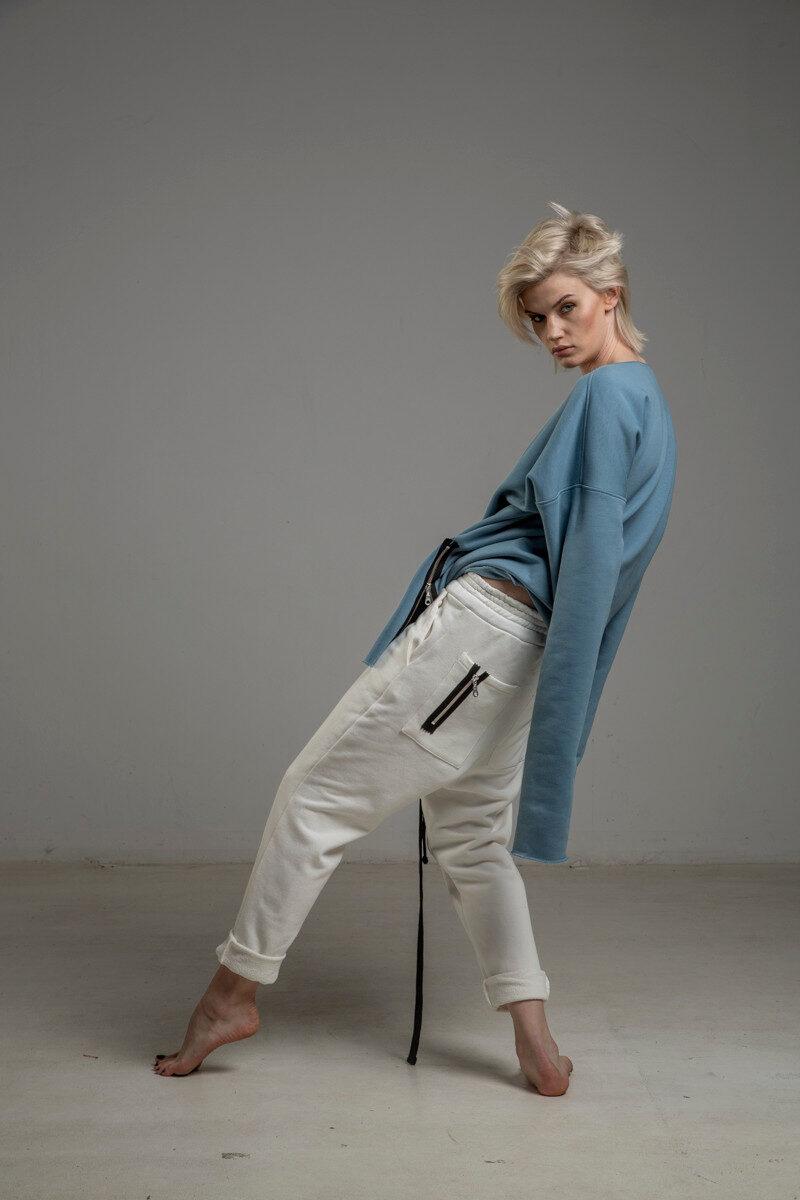 biale spodnie delcane cotton TOKYO white lewy bok 2m