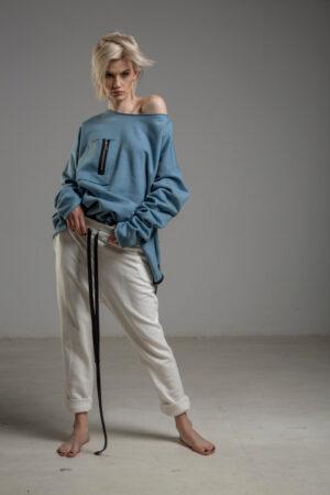 biale spodnie delcane cotton TOKYO white przod 3m