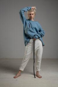 biale spodnie delcane cotton TOKYO white przod 4m