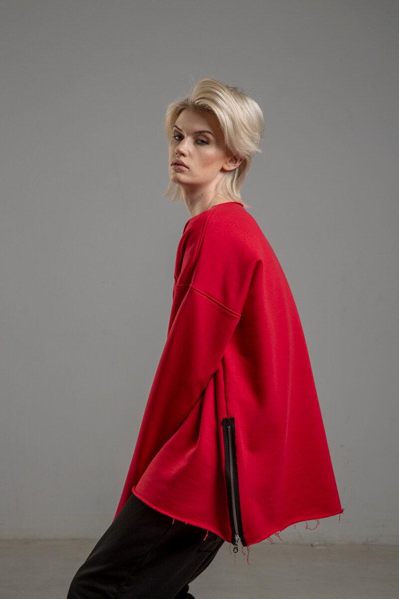 czerwona bluza delcane oversize cotton TOKYO red bok 1m