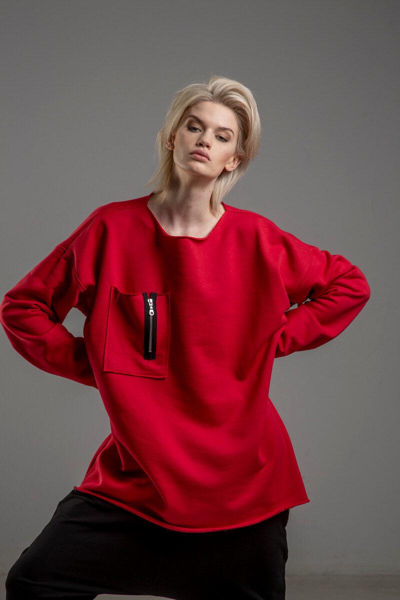 czerwona bluza delcane oversize cotton TOKYO red przod 2m