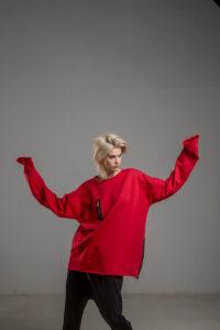 czerwona bluza delcane oversize cotton TOKYO red przod 3m