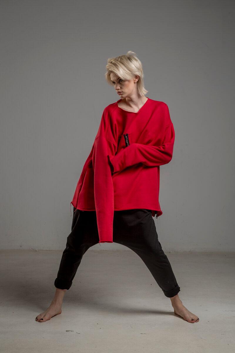 czerwona bluza delcane oversize cotton TOKYO red przod 4m