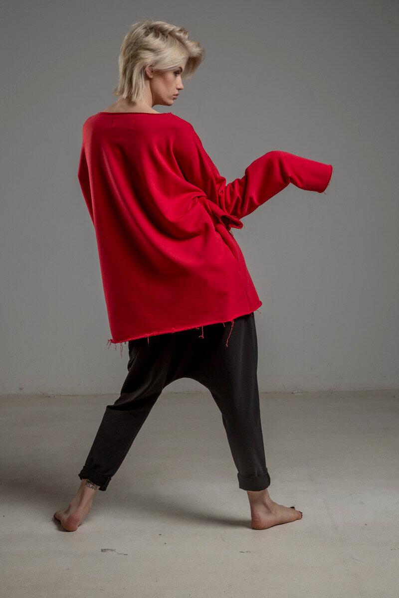 czerwona bluza delcane oversize cotton TOKYO red tyl 1m