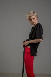 czerwone spodnie cotton delcane tokyo red bok 3m