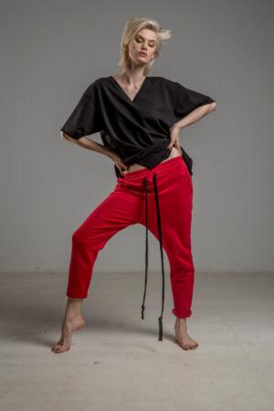 czerwone spodnie cotton delcane tokyo red przod 1m