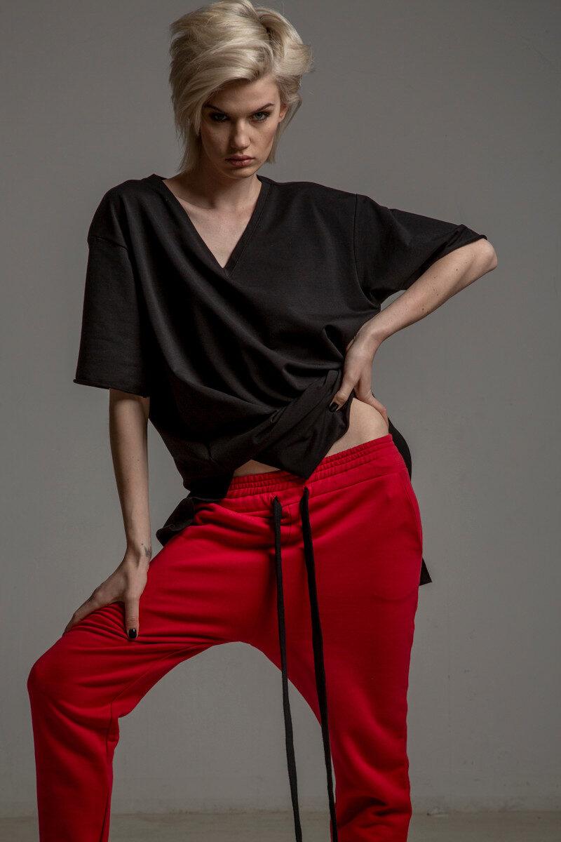 czerwone spodnie cotton delcane tokyo red przod 2m
