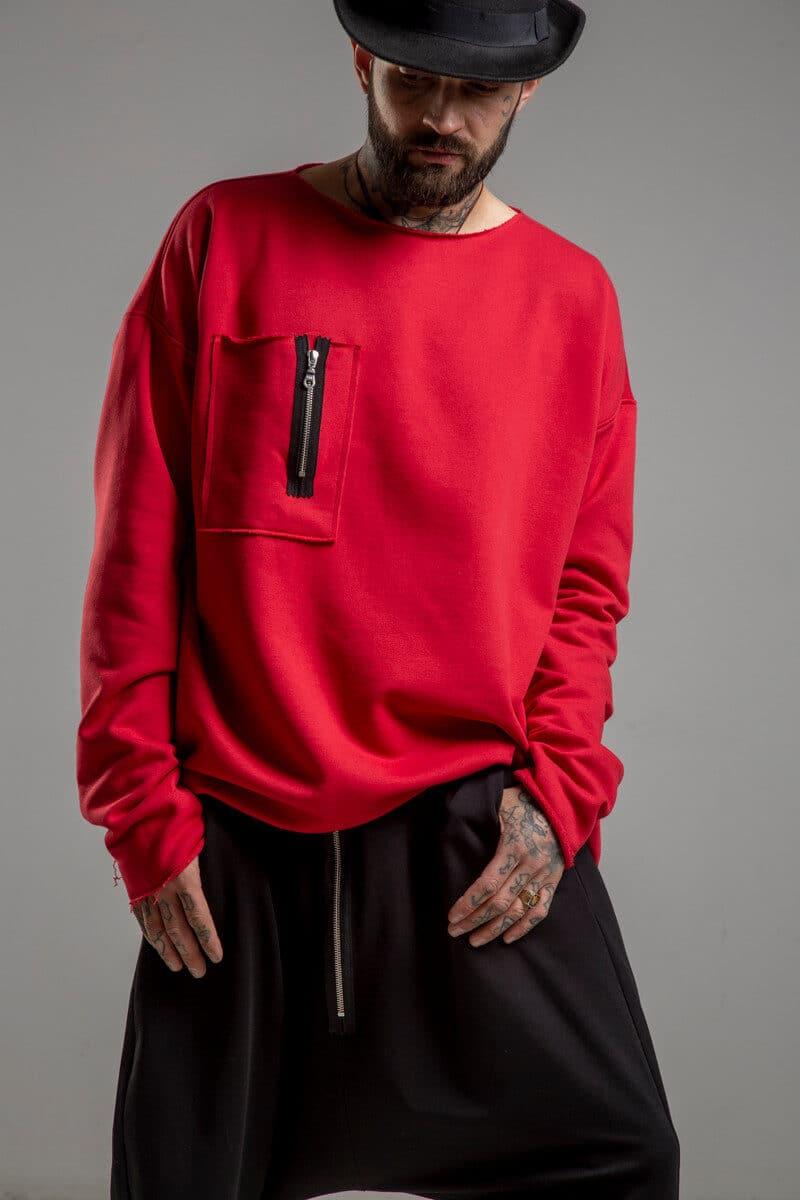 delCane-czerwona-bluza-bawelniana-przez-glowe-przod