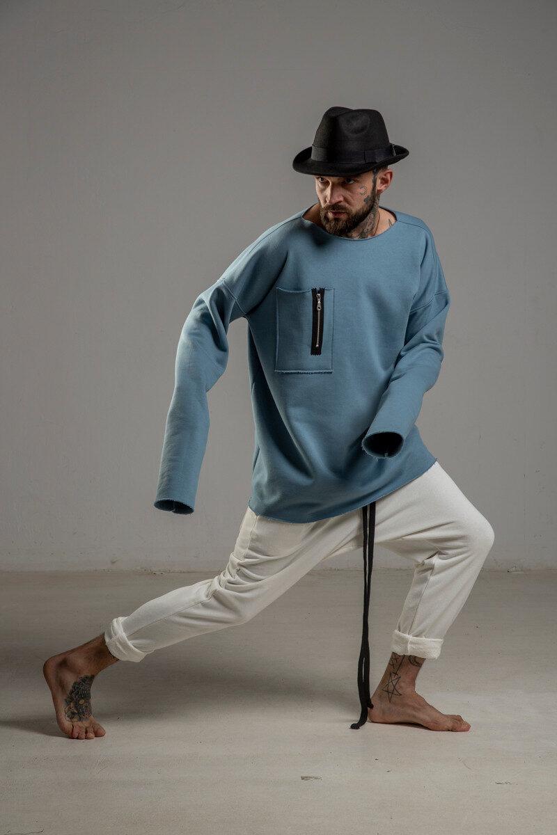 delCane niebieska bluza bawelniana przez glowe prawy bok m