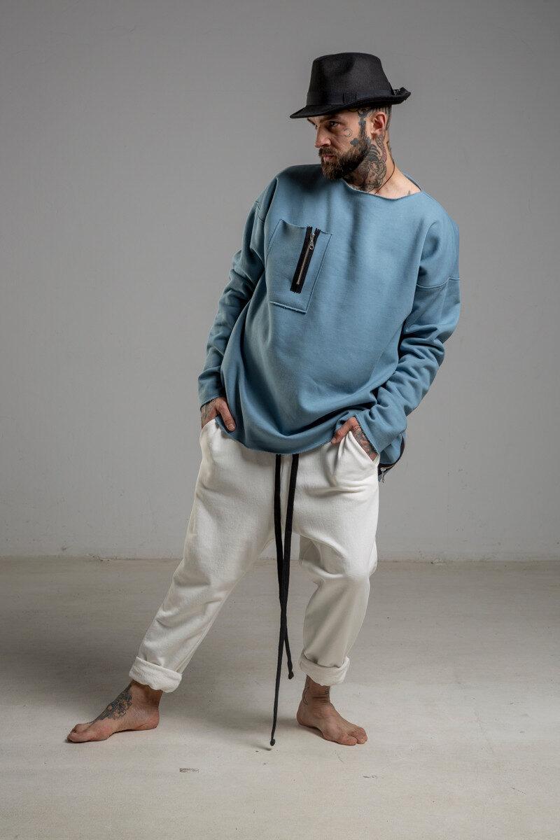 delCane niebieska bluza bawelniana przez glowe przod m