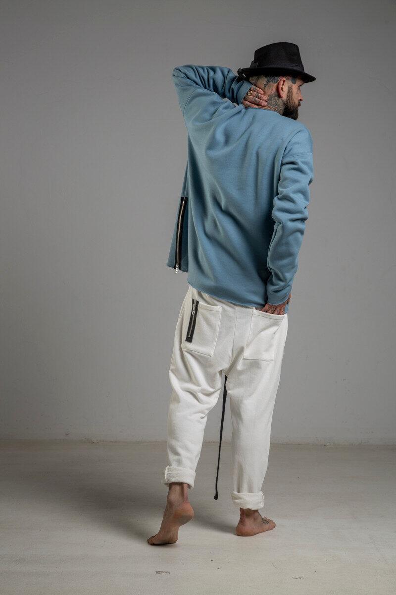 delCane niebieska bluza bawelniana przez glowe lewy bok 2m