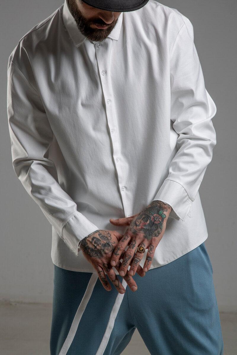 delcane biała koszula TOKYO white men przod detal 1m