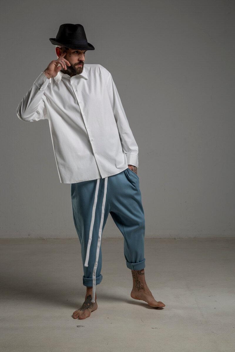 delcane biała koszula TOKYO white men przod rozpiety kolniez 1m
