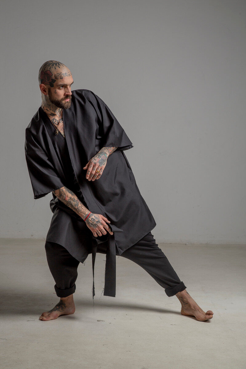 delcane kimono jedwabne TOKYO black him bok lewy 1m