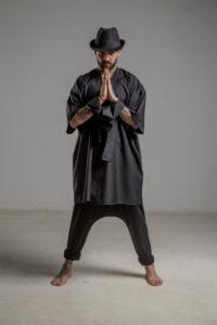 delcane kimono jedwabne TOKYO black him przod 1m