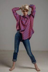delcane koszula z wiskozy TOKYO kropki rozowa przod 1m
