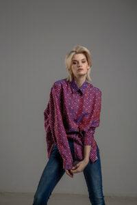 delcane koszula z wiskozy TOKYO kropki rozowa przod 2m