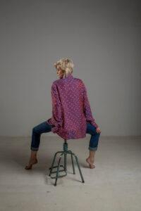 delcane koszula z wiskozy TOKYO kropki rozowa tyl m