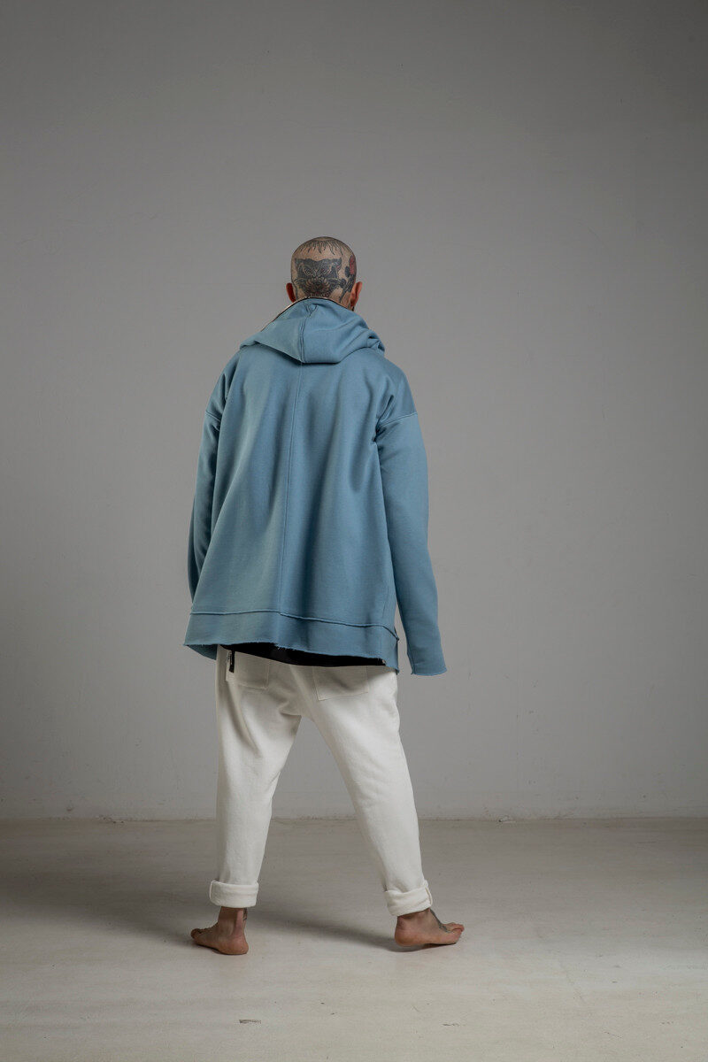 delcane niebieska bluza z kapturem TOKYO blue man tyl 1m