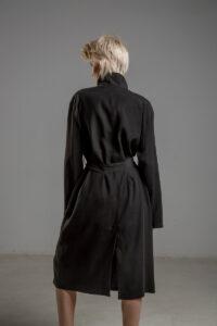 delcane plaszcz cupro czarny TOKYO black tyl 1m