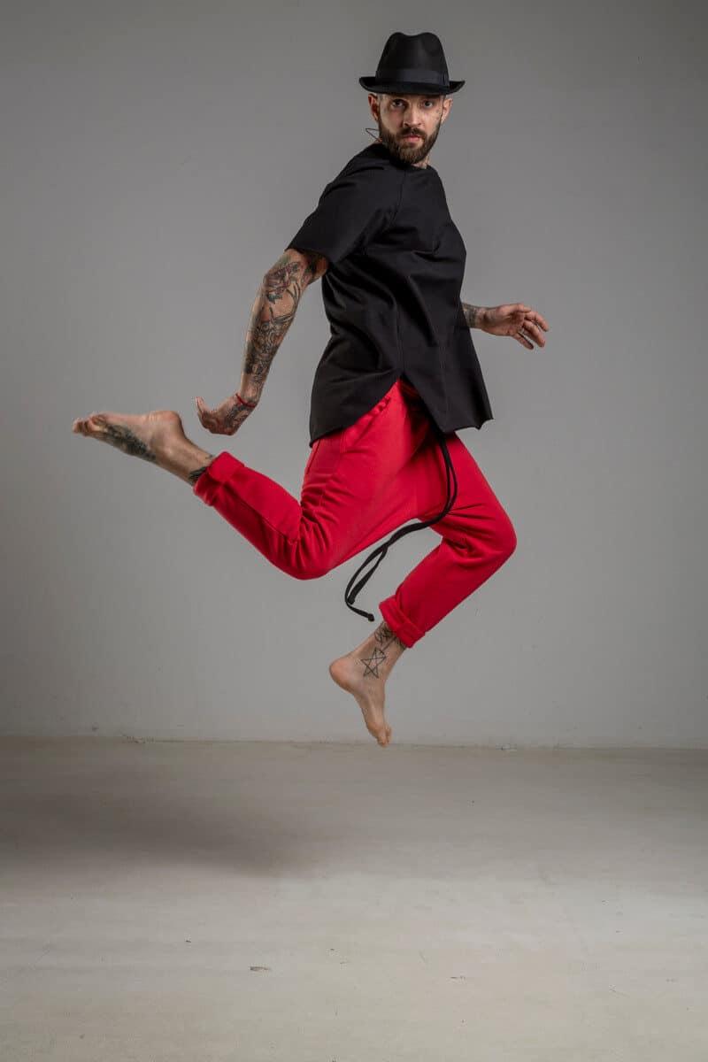 delcane spodnie czerwone bawelna bok