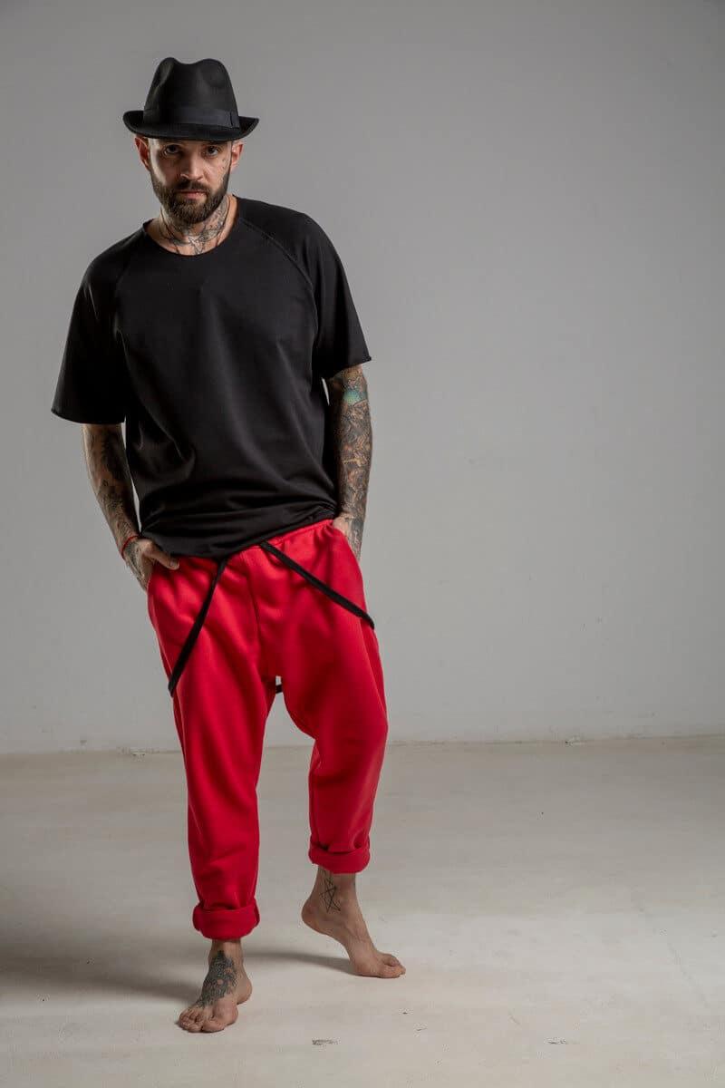 delcane spodnie czerwone bawelna przod 1m