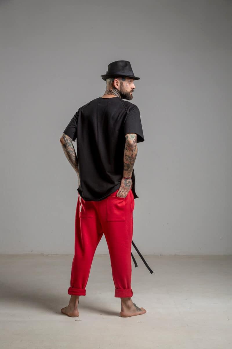 delcane spodnie czerwone bawelna tyl 2m