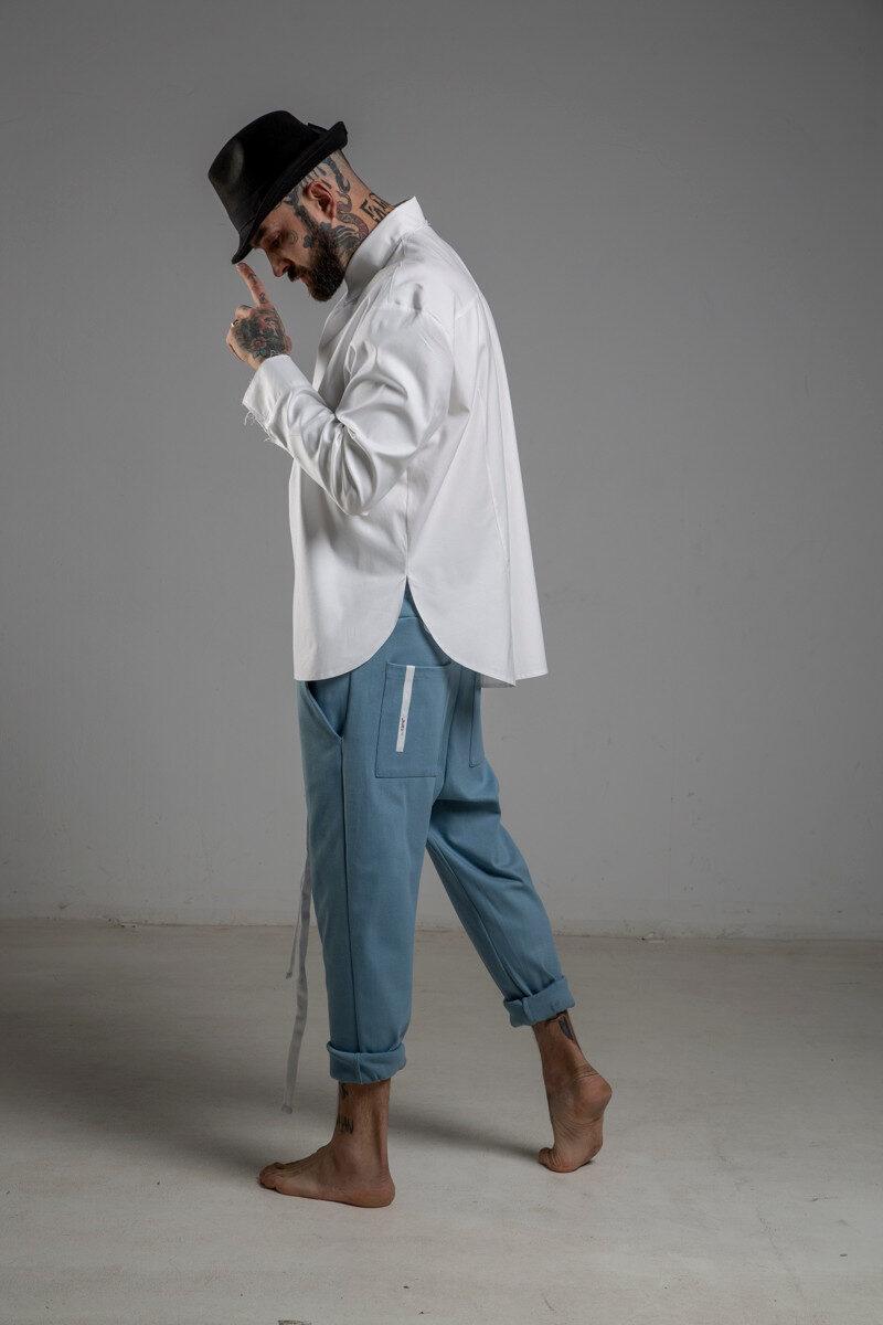 delcane spodnie niebieskie obnizony krok bok lewy