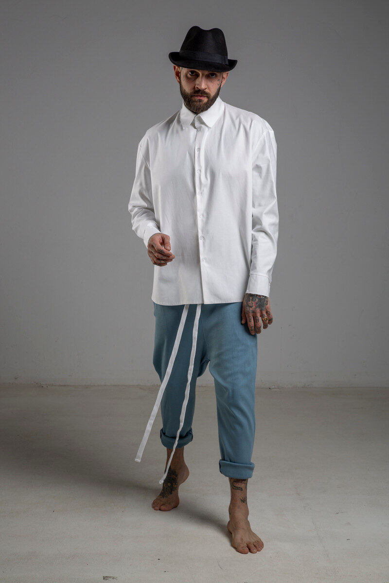 delcane spodnie niebieskie obnizony krok przod 1 m